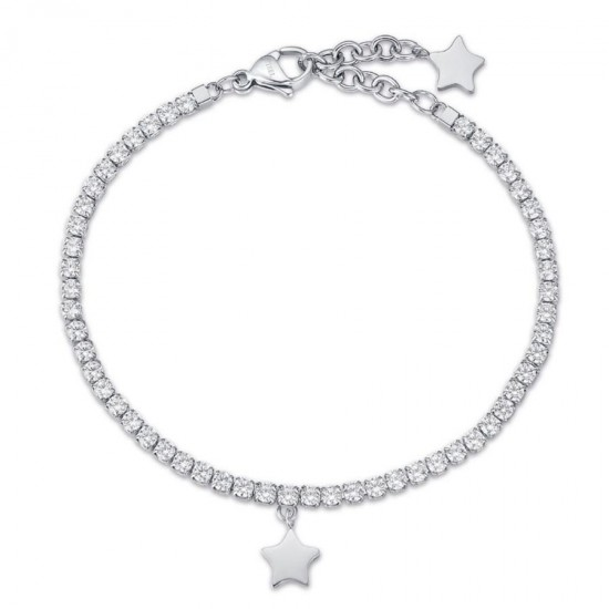 Bracelet with stainless steel star and white crystals  BK1965