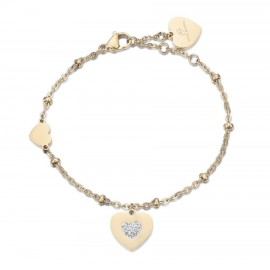Bracelet with hearts in gold color and white crystals made of stainless steel  BK1991