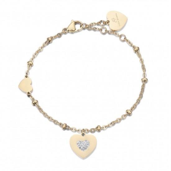 Βραχιόλι με καρδιές σε χρυσό χρώμα και λευκούς κρυστάλλους από ανοξείδωτο ατσάλι BK1991