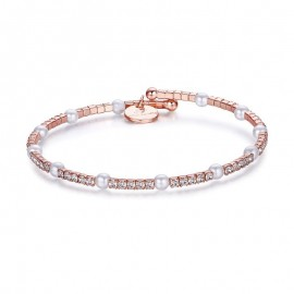Bracelet with synthetic pearls in rose gold color with white crystals made of stainless steel  BK1399
