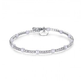 Bracelet with synthetic pearls in white color with white crystals made of stainless steel BK1398