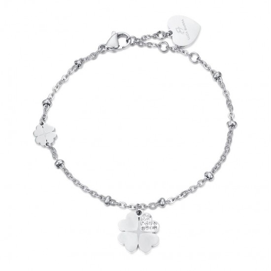 Bracelet with the four-leaf stainless steel clover of luck  BK1984