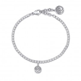 Riviera bracelet with the tree of life and white crystals  BK1972
