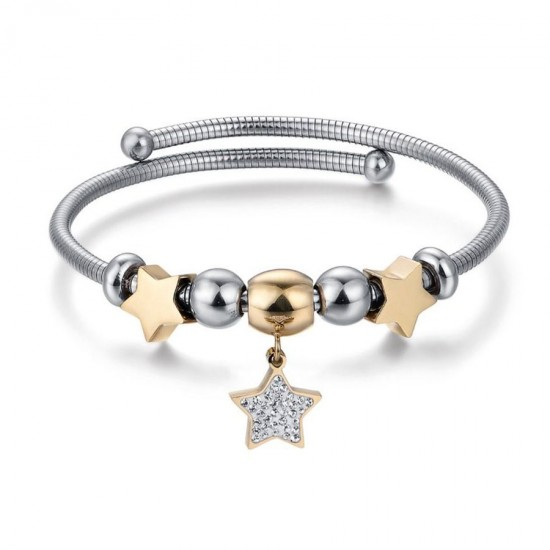 Bracelet with stars in gold color made of stainless steel and white crystals BK1950