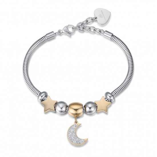 Bracelet with the moon and stars in gold color and white crystals made of stainless steel  BK1959