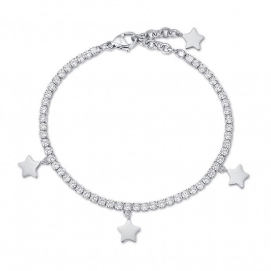 Riviera bracelet with stars and white crystals made of stainless steel  BK1964