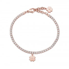 Tennis bracelet with the four-leaf clover of luck in pink gold color BK1976