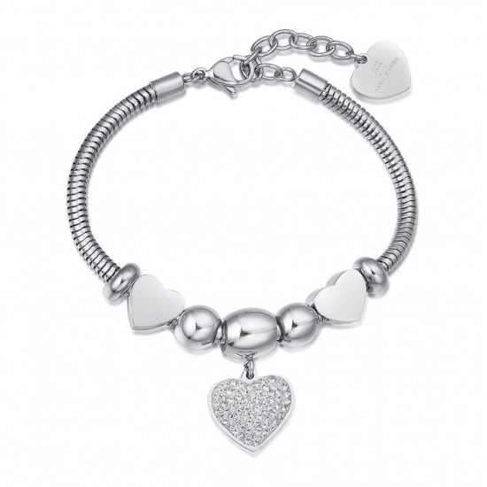Bracelet with hearts in white color and white crystals made of stainless steel  BK1955