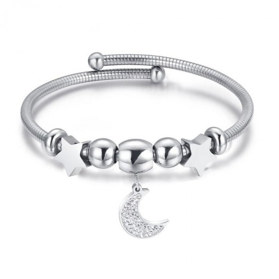 Bracelet with stars and the moon in white color and white crystals made of stainless steel  BK1960