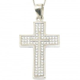 Silver Cross platinum with white zircons Chain length 40cm-45cm