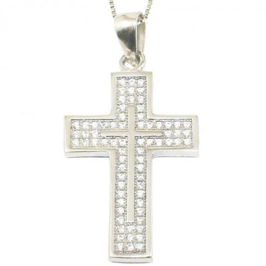 Silver Cross platinum with white zircons Chain length 40cm-45cm