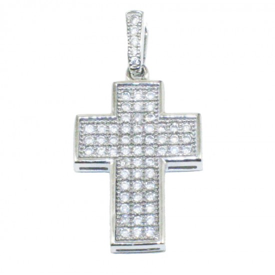 Sterling silver cross platinum and white zircons  S0408W