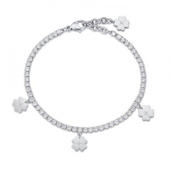 Riviera bracelet with the four-leaf clover of luck and white crystals BK1974
