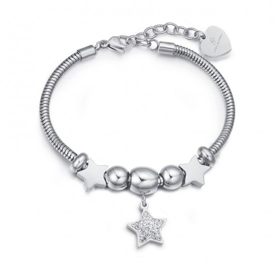 Bracelet with stars in white color and white crystals made of stainless steel BK1949