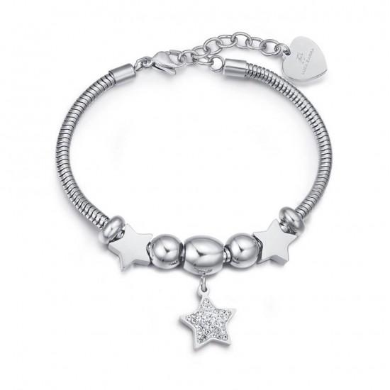 Βραχιόλι με αστέρια σε λευκό χρώμα και λευκούς κρυστάλλους BK1949