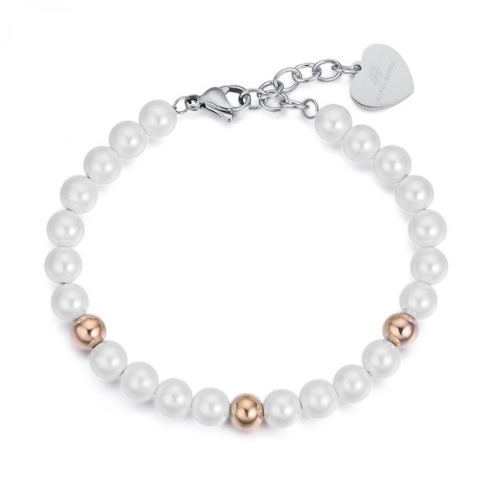 Bracelet with synthetic pearls and spheres in rose gold color made of stainless steel  BK1892