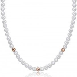 Necklace with synthetic pearls and spheres in rose gold color made of stainless CK1440
