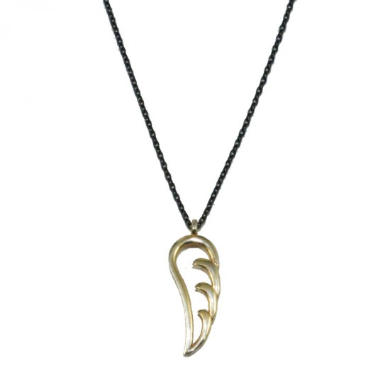 Silver necklace with open wing shape gold plated  P45075B