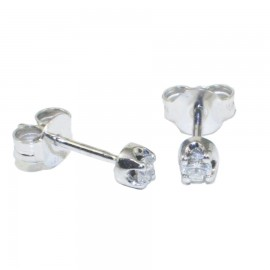 Earrings white gold K18 solitaire with natural diamonds  SK586