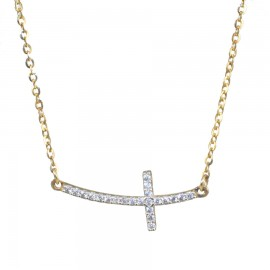 Gold necklace K14 with Cross and white zircons  1717