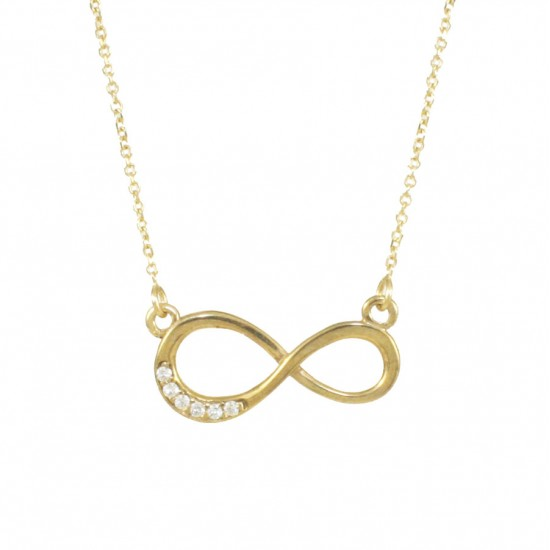 Gold necklace K9 with infinity design with white zircons  12145