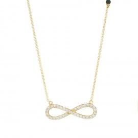 Gold K14 necklace with Infinite design with white zircon and onyx Chain Length 40-45cm 15515