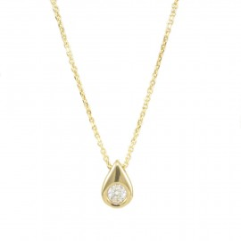 Gold necklace K9 with drop design and solitaire in the middle  09193