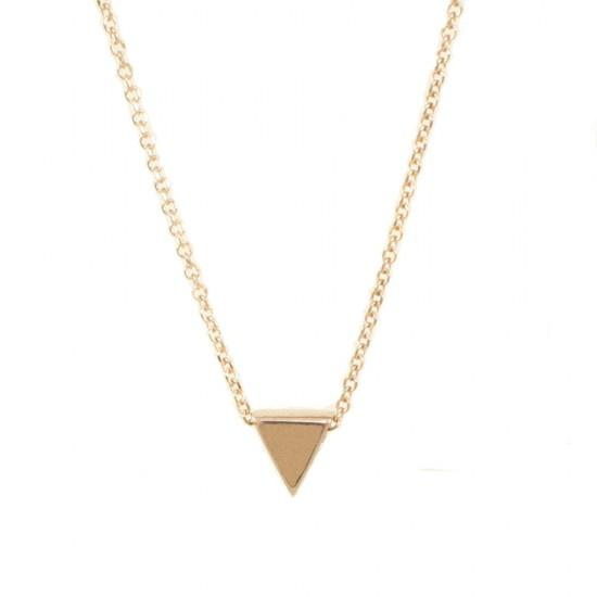 Κολιέ ροζ χρυσό Κ9 με σχέδιο τρίγωνο λουστραριστό 0913T