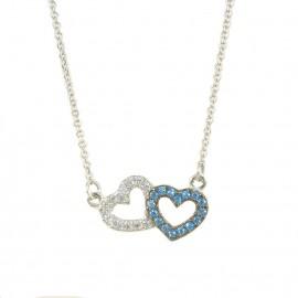 Κολιέ λευκόχρυσο Κ9 με καρδιές με λευκά και μπλέ ζιργκόν 1212