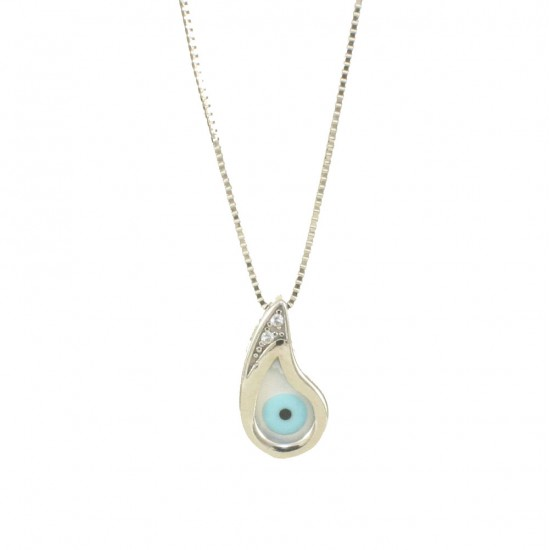 Necklace white gold K14 with eye in the shape of a drop with mother of pearl U195165