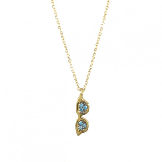 Gold necklace K14 with sunglasses design with blue zircon U119