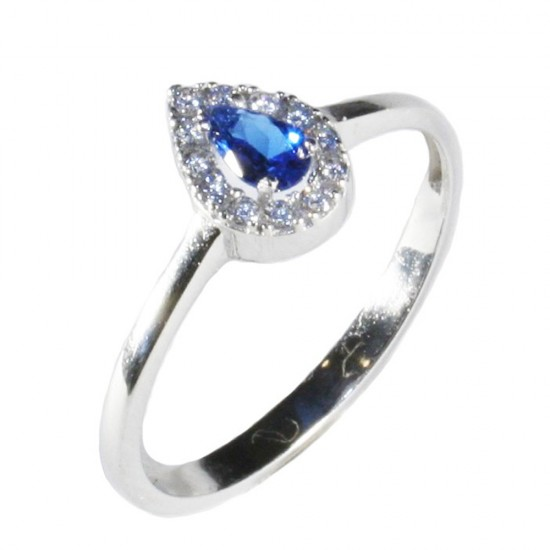 Platinum ring K14 rosette with white zircon and stone in sapphire color 15313