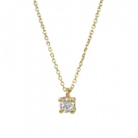 Gold solitaire necklace K9 with white zircon  0992