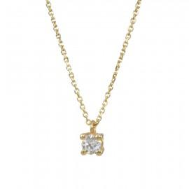 Κολιέ χρυσό μονόπετρο Κ9 με λευκό ζιργκόν 0992