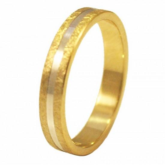 Βέρες χρυσές Κ14 μονόχρωμες ή δίχρωμες σφυρίλατες για γάμο ή αρραβώνα σε μεγάλη ποικιλία σχεδίων και χρωμάτων