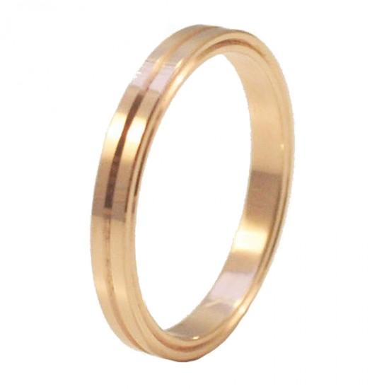 Βέρες ροζ χρυσό Κ14 γάμου ή αρραβώνα μονόχρωμες ή δίχρωμες σε ποικιλία χρωμάτων και σχεδίων