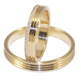 Wedding rings with gold Κ14 or engagement with white zircon in women's