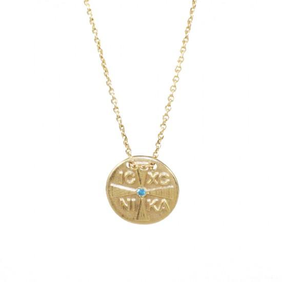 Κολιέ χρυσό Κ14 με Κωνσταντινάτο και μπλέ ζιργκόν 1417K
