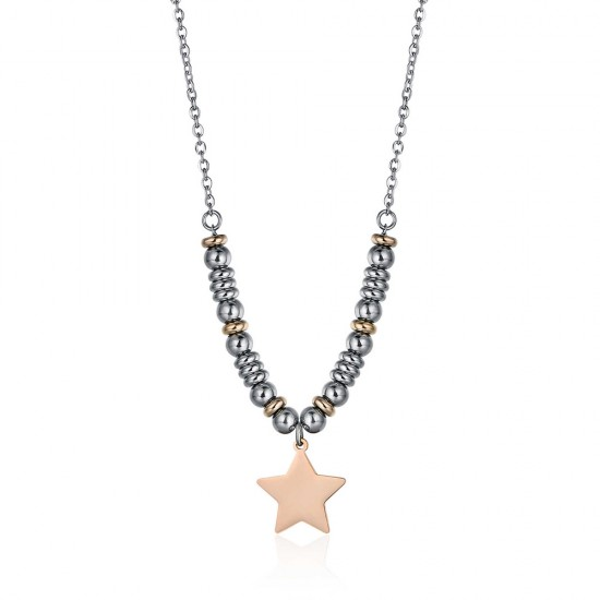 Necklace with rose gold color star made of stainless steel  BK1367