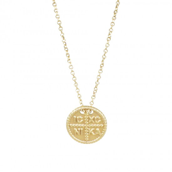 Necklace gold K14 with Constantine  1417.K