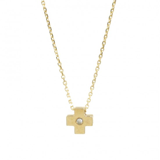 Necklace gold K9 with Cross and white zircon  1213C