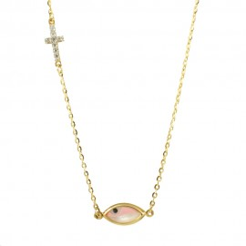 Gold necklace K9 with eye and Cross with white zircons  1717E