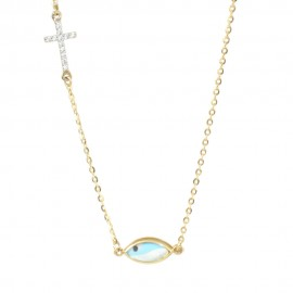 Gold necklace K9 with blue eye and Cross with white zircons 1717BE