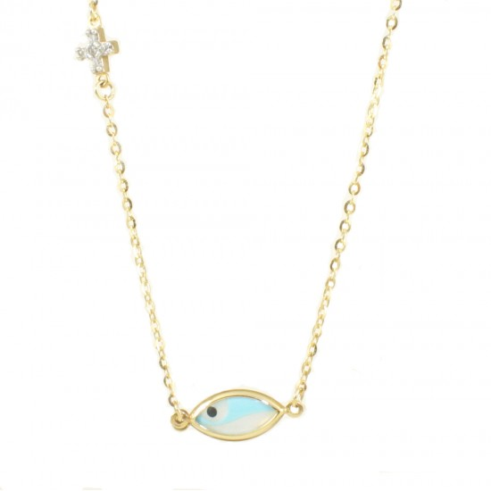 Gold necklace K9 with blue eye and Cross with white zircons 1616E