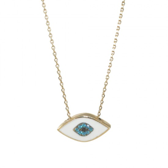 Gold necklace K9 with eye with white enamel and blue zircon 1520