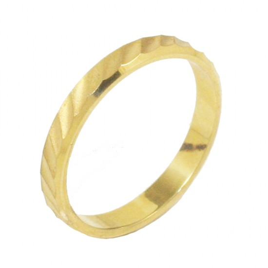 Βέρα χρυσή Κ14 μονόχρωμη σφυρίλατη και λουστραριστή 235235H