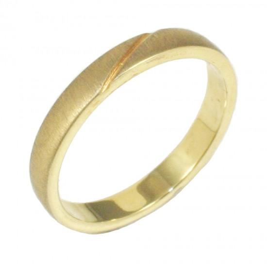 Βέρα χρυσή Κ14 με σχέδιο ματ και λουστραριστή 285285G