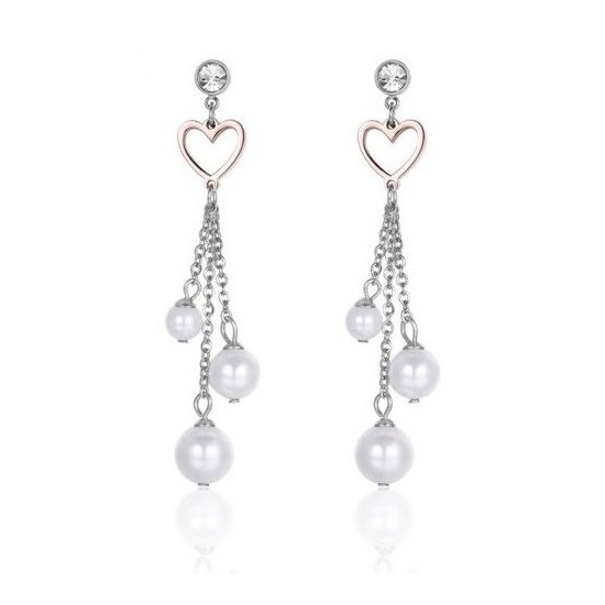 Earrings with pearls pink hearts and white crystals  OK978