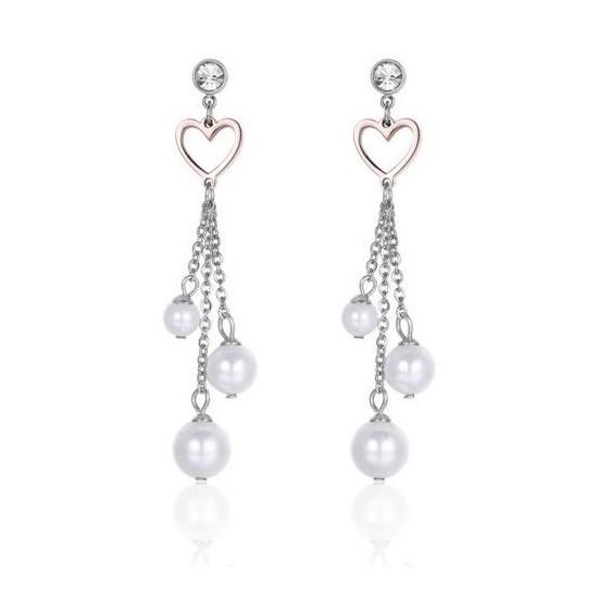 Σκουλαρίκια με μαργαριτάρια ροζ καρδιές και λευκούς κρυστάλλους OK978