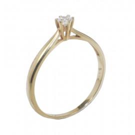 Δαχτυλίδι χρυσό Κ14 μονόπετρο με λευκό ζιργκόν 135115